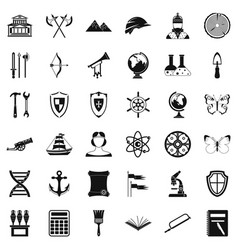 archeology icons set simple style vector image vector image