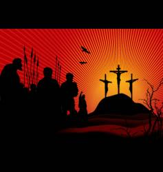 crucifixion in red vector image vector image