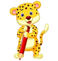Cute leopard cartoon holding red pencil vector image vector image