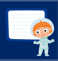 cute little red-haired girl astronaut with a blank vector image vector image
