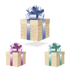 Gift boxes collection isolated on white background vector image vector image