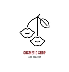 Lips Lipstick Cosmetics and beauty logo concept vector image