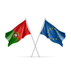 portugal and european union waving flags vector image