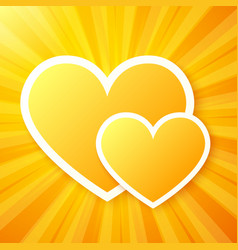 Yellow paper hearts on shining background vector image vector image