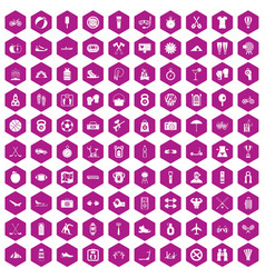 100 active life icons hexagon violet vector image