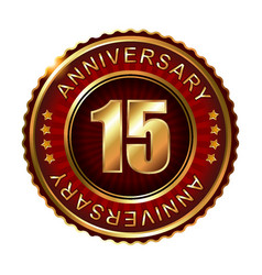 15 years anniversary golden label vector image