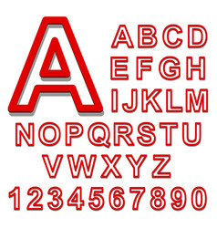 3d alphabet set red font on a white background vector image