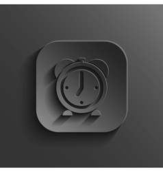 Alarm clock icon - black app button vector