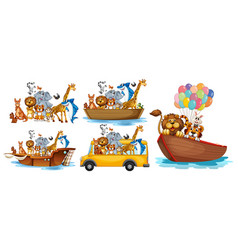 animals on different types transportation vector image