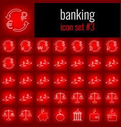 banking icon set 3 white line icon on red vector image