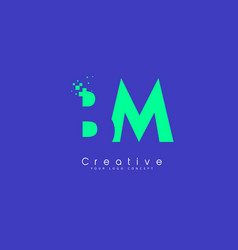 bm letter logo design with negative space concept vector image
