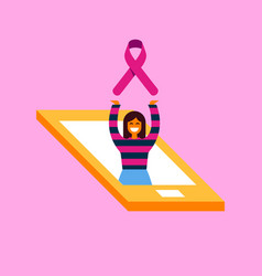 breast cancer care phone concept for phone app vector image