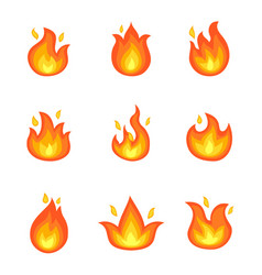 Burning fire set icons vector