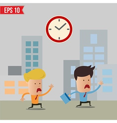 Business man running during rush hour - - EP vector