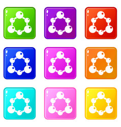 Chemical and physical molecules set 9 vector