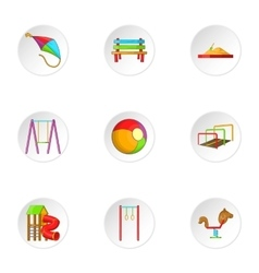 Children swing icons set cartoon style vector