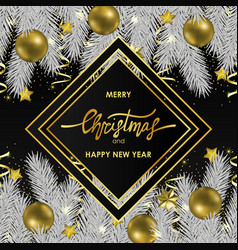 christmas and new year card with geometric frame vector image