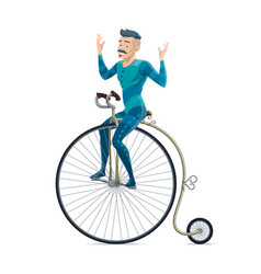 Circus performer riding on retro bicycle vector