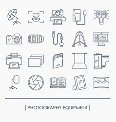 collection of photography equipment icons vector image
