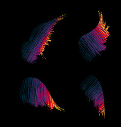 color wings set vector image