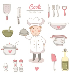 Cook set vector