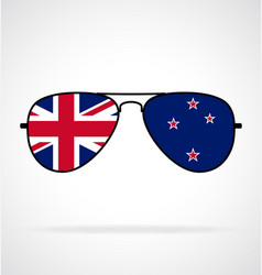Cool aviator sunglasses with new zealand flag vector