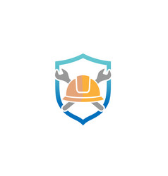 Creative architect hardhat wrench tools logo vector