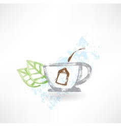 Cup of tea grunge icon vector image
