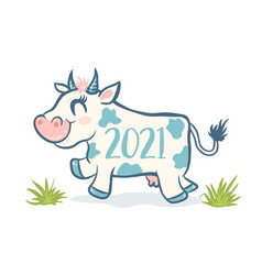 cute cow like symbol 2021 year vector image