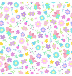 Cute flowers and birds seamless pattern vector