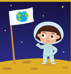 cute little happy girl astronaut standing on moon vector image
