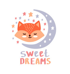 cute red fox sweet dreams vector image