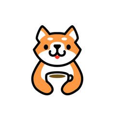 cute shiba inu coffee cup drink dog cartoon logo vector image