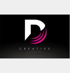 D white and pink swoosh letter logo letter design vector