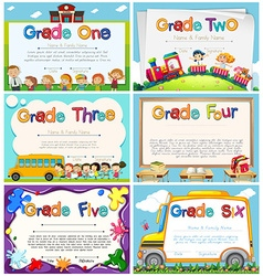 Diploma templates for primary school vector