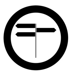 direction sign icon black color in circle vector image