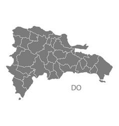 dominican republic provinces map grey vector image