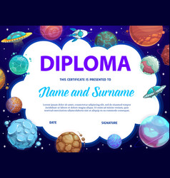 Education school diploma with fantasy planets vector