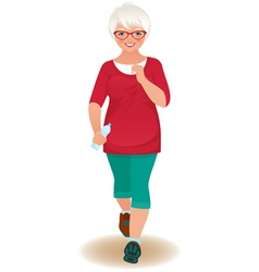 Elderly woman runner vector image