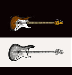 electro bass guitar in monochrome engraved vintage vector image