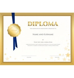 Elegant diploma certificate template completion vector