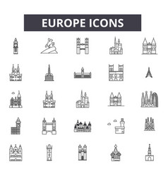 europe line icons signs set outline vector image