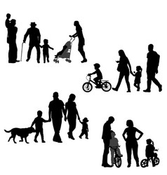 families silhouettes set on white background vector image