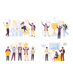 financial victories and achievements set vector image