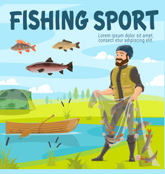 Fishing sport fisher and fish in net vector