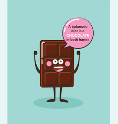 Funny chocolate bar character with insparation vector