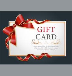 gift card certificate for with ribbons and bow vector image