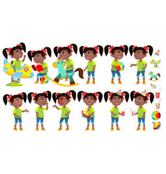 girl kindergarten kid poses set black vector image