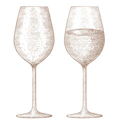 glass wine hand drawn sketch vector image