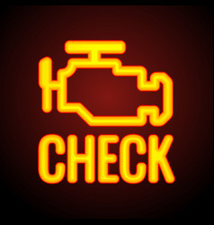 glowing check engine light symbol that pops up on vector image